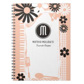Custom color shabby girly chef bakery utensils notebooks