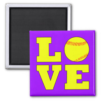 Custom Color Softball Love Fridge Magnet