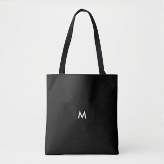 Custom Color Solid Black Optional Text or Initial Tote Bag