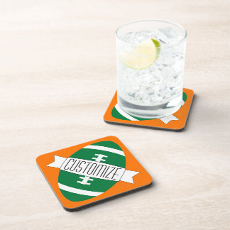Custom Color & Team Name Green Football Sports Bar Coaster