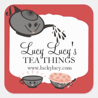 Custom color teapot teacup tea blend gift sticker