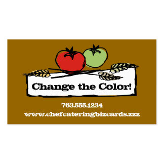 Custom color tomato wheat vegan cooking biz cards business card template