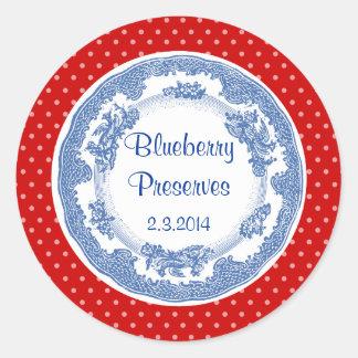 Custom color vintage blue plate canning label round sticker