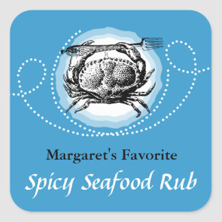 Custom color vintage crab seafood gift tag label square sticker