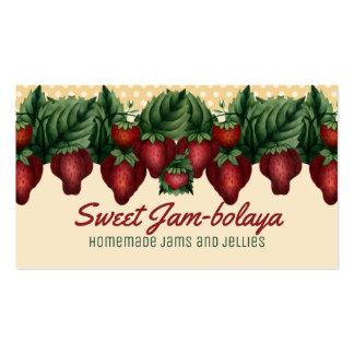 Custom color vintage strawberries polka dots card pack of standard business cards