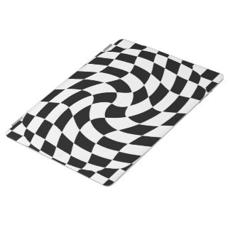 Custom Color Warped Checks Abstract Pattern Cover iPad Cover