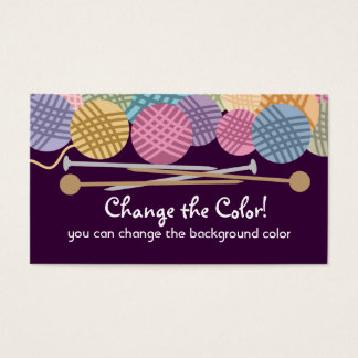Custom color yarn knitting needles business card