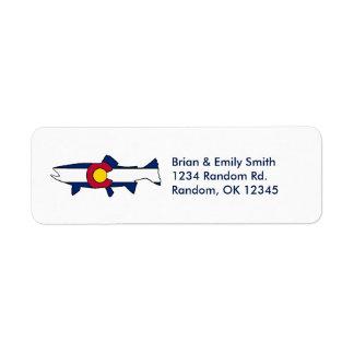 Custom Colorado flag trout fish address labels