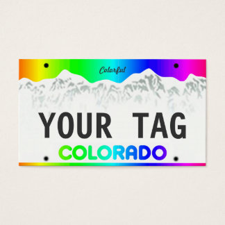 Custom Colorado License Plate - Colorful Edition Business Card