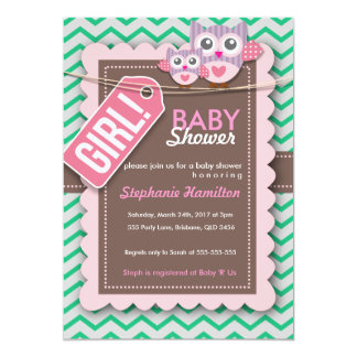 Custom colorful owl baby shower invite