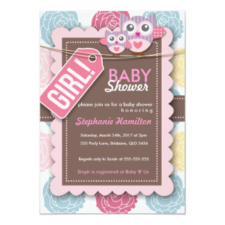 "Custom colorful  owl flower baby shower invite 5"" x 7"" invitation card"