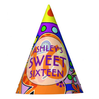 Custom Colorful Sweet 16 Birthday Party Hat