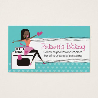 Custom colour African American woman chef bakery Business Card