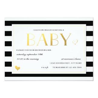 Custom Colour Baby Shower Invitation Black & Gold