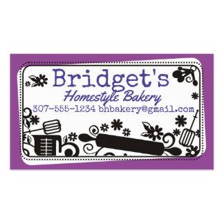 Custom colour baking utensils flowers bakery card pack of standard business cards