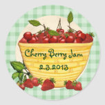 Custom colour berry cherry strawberry canning round sticker