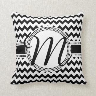 Custom Colour Cursive Monogram Black and White Cushion