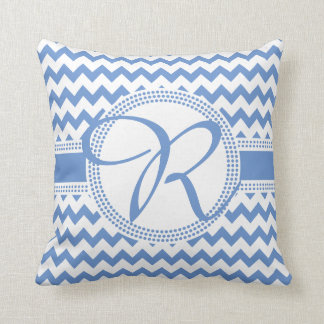 Custom Colour Cursive Monogram Blue and White Cushion