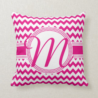 Custom Colour Cursive Monogram Hot Pink and White Cushion