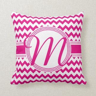 Custom Colour Cursive Monogram Hot Pink and White Cushions