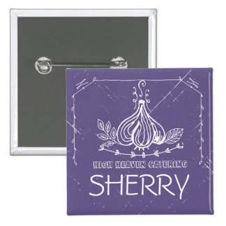 Custom colour doodle garlic herbs chef catering 15 cm square badge