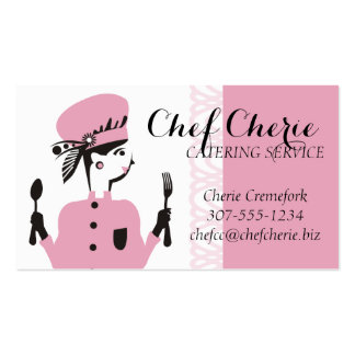 Custom colour fashion model chic chef catering pack of standard business cards