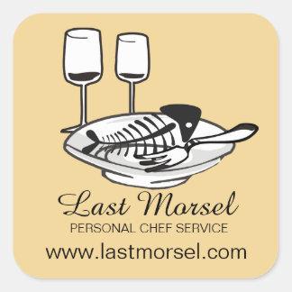custom colour fish bones plates chef catering square sticker
