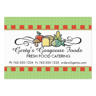 Custom colour fish fruit vegetable chef catering pack of chubby business cards