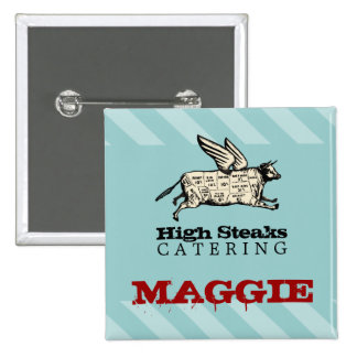 custom colour flying cow beef cuts chef catering 15 cm square badge