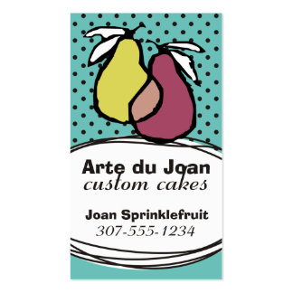 Custom colour hand drawn pears bakery catering pack of standard business cards