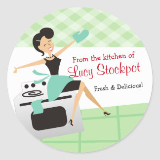 Custom colour housewife cooking baking food label round sticker