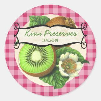 custom colour kiwi fruit canning label round sticker