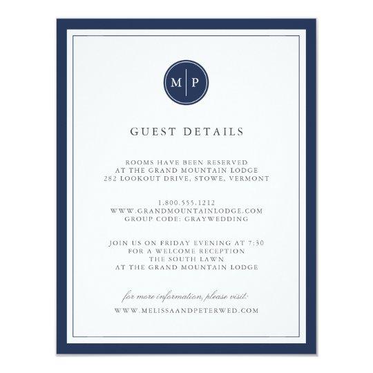 Custom Colour Monogram Wedding Details Card 11 Cm X 14 Cm Invitation Card
