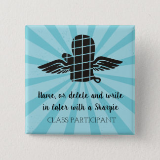 Custom colour oven mitt cooking class name badge