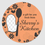 Custom colour oven mitt spoon cooking bakery label round sticker