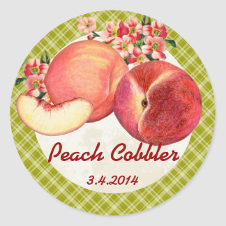 Custom colour peaches fruit canning label round sticker
