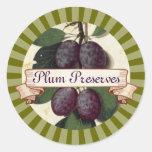 custom colour plum fruit tree canning label round sticker
