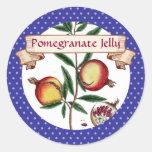custom colour pomegranates fruit canning label round sticker