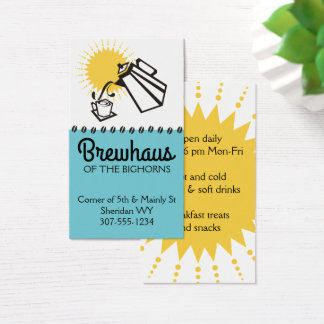 Custom colour pouring coffee pot breakfast cafe business card