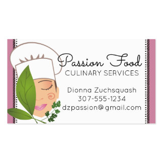 Custom colour pretty woman chef herbs catering pack of standard business cards