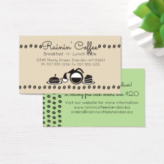 Custom colour retro coffee sandwich lunch catering business card
