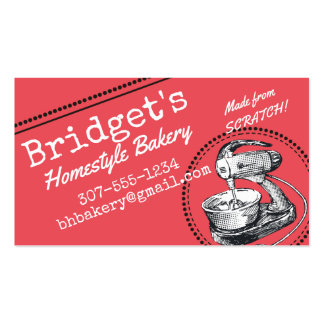 Custom colour retro stand mixer bakery culinary pack of standard business cards