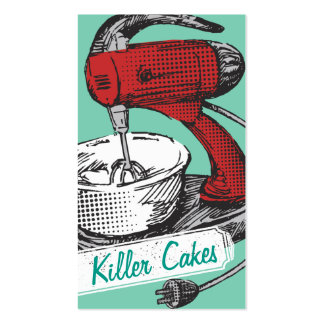 Custom colour retro stand mixer baking bakery card pack of standard business cards