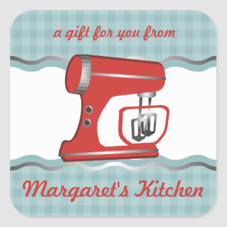Custom colour retro stand mixer baking gift label