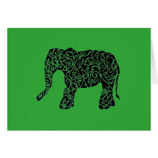Custom Colour/Text Tribal Elephant Greeting Card