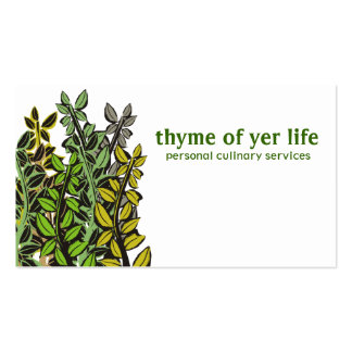 Custom colour thyme herbs cooking chef catering pack of standard business cards