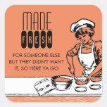 custom colour vintage bakery girl baking gift labe sticker