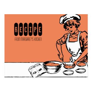 custom colour vintage bakery girl baking recipe ca postcard