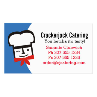 Custom colour winking chef catering culinary pack of standard business cards