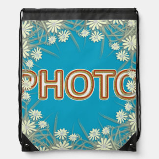 Custom composition with photo drawstring bag
